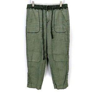 Hei Hei green cargo pants linen for Anthropologie